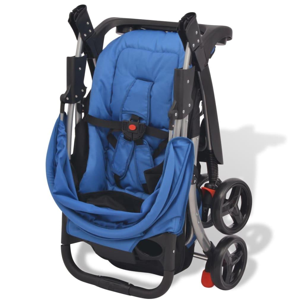 vidaXL Skládací kočárek modrý 102 x 52 x 100 cm