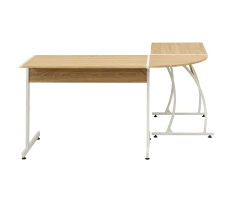 vidaXL Corner Desk L-Shaped Oak[3/5]