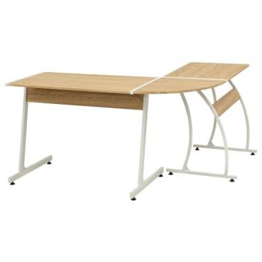 vidaXL Corner Desk L-Shaped Oak[4/5]