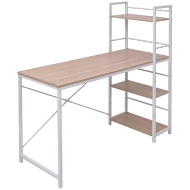 vidaXL Skrivebord med 4-hyllers bokhylle eik[1/5]