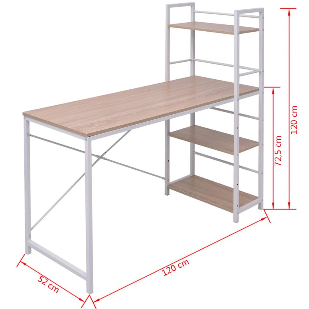 Pracovní stůl se 4 policemi dub