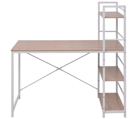 vidaXL Desk with 4-Tier Bookcase Oak[2/5]