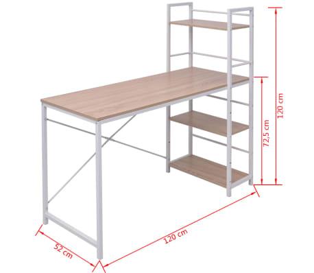 vidaxl schreibtisch mit b cherregal mit 4 b den eiche im vidaxl trendshop. Black Bedroom Furniture Sets. Home Design Ideas