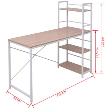 vidaXL Skrivebord med 4-hyllers bokhylle eik[5/5]