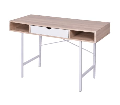 vidaXL Bureau avec 1 tiroir Chêne et blanc[1/5]