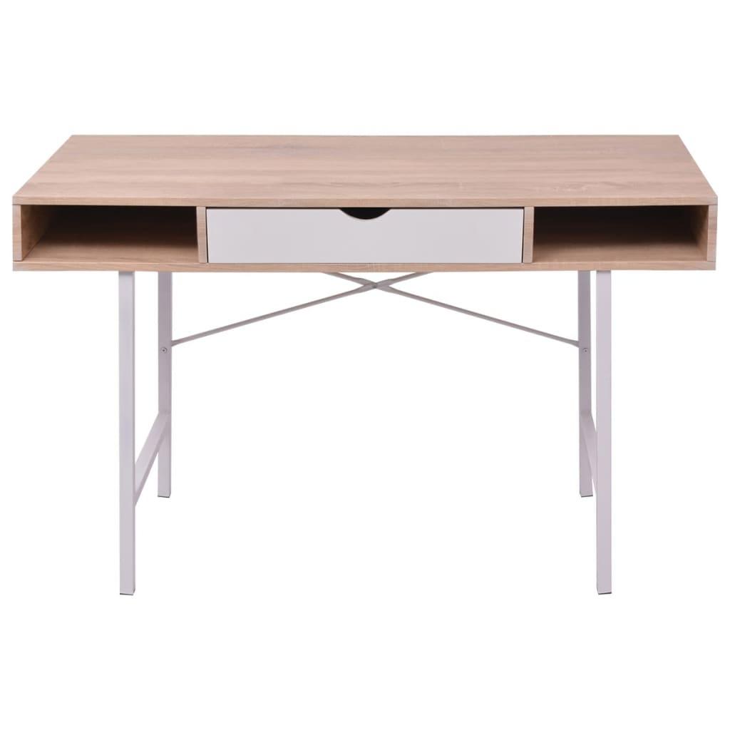 Psací stůl s 1 zásuvkou, dub a bílá barva