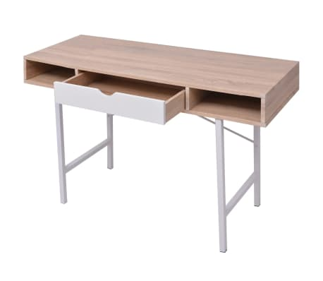 vidaXL Bureau avec 1 tiroir Chêne et blanc[3/5]