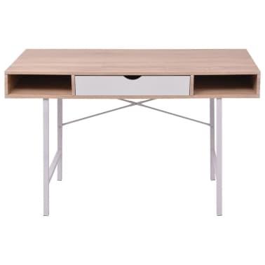 vidaXL Bureau avec 1 tiroir Chêne et blanc[2/5]