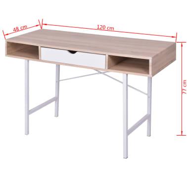 vidaXL Bureau avec 1 tiroir Chêne et blanc[5/5]