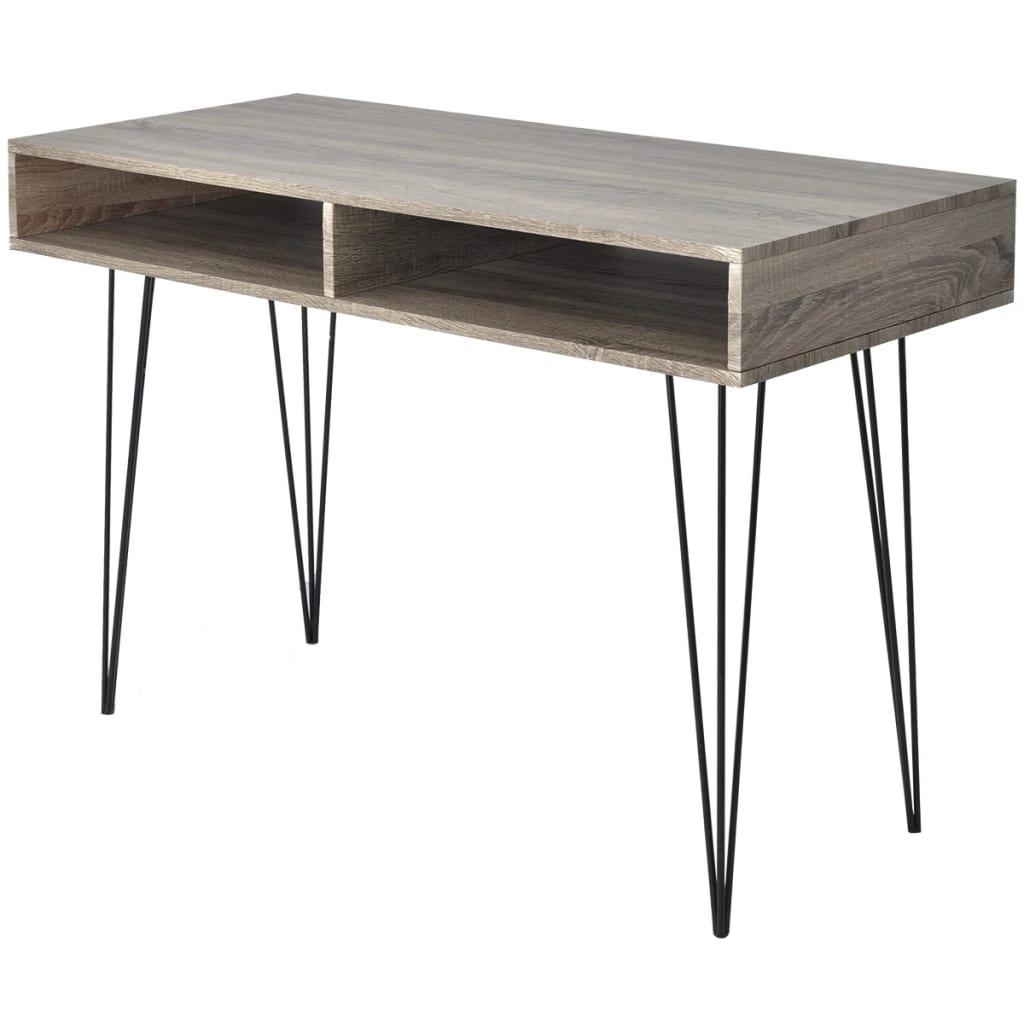 vidaXL Psací stůl s 2 policemi šedý