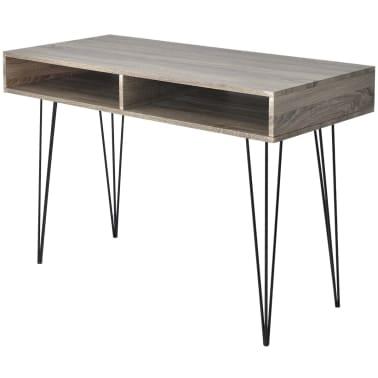 vidaXL Schreibtisch mit 2 Fächern Grau[1/4]