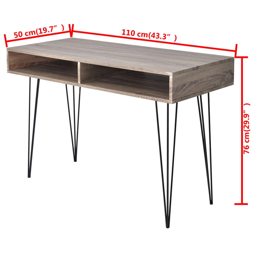 Psací stůl s 2 policemi šedý