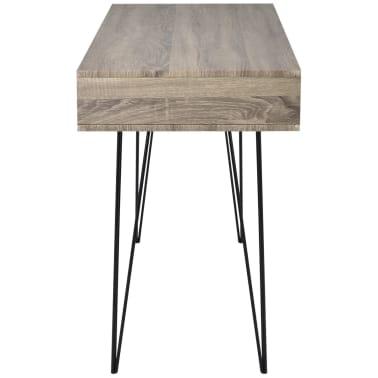 vidaXL Schreibtisch mit 2 Fächern Grau[3/4]
