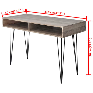 vidaXL Desk with 2 Compartments Gray[4/4]