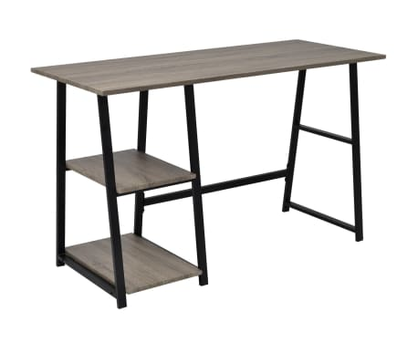 vidaXL Desk with 2 Shelves Gray and Oak[1/6]
