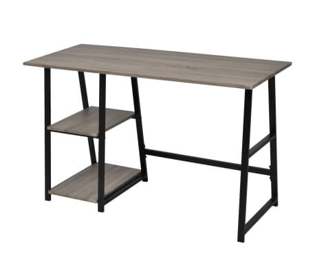 vidaXL Desk with 2 Shelves Gray and Oak[3/6]