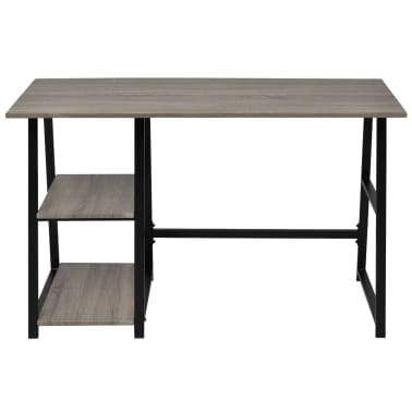 vidaXL Desk with 2 Shelves Gray and Oak[2/6]