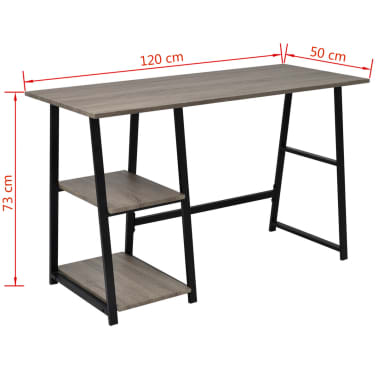 vidaXL Desk with 2 Shelves Gray and Oak[6/6]
