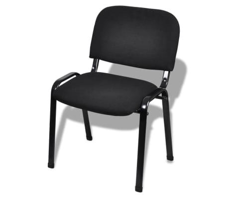 vidaXL Sukraunamos viena ant kitos biuro kėdės, 4 vnt., audinys, juod.[2/6]