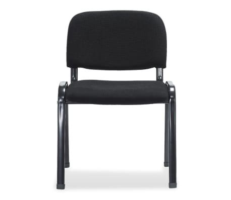 vidaXL Sukraunamos viena ant kitos biuro kėdės, 4 vnt., audinys, juod.[3/6]
