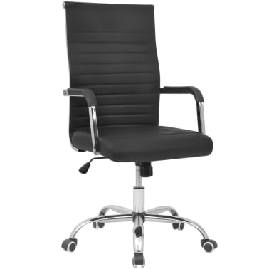"vidaXL Office Chair Artificial Leather 21.7""x24.8"" Black[1/5]"