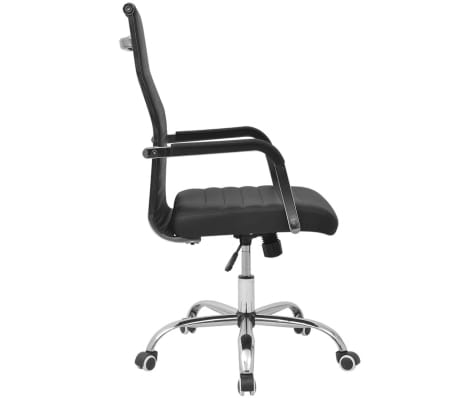 "vidaXL Office Chair Artificial Leather 21.7""x24.8"" Black[3/5]"