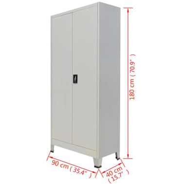 "vidaXL Office Cabinet with 2 Doors Steel 35.4""x15.7""x70.9"" Gray[10/10]"