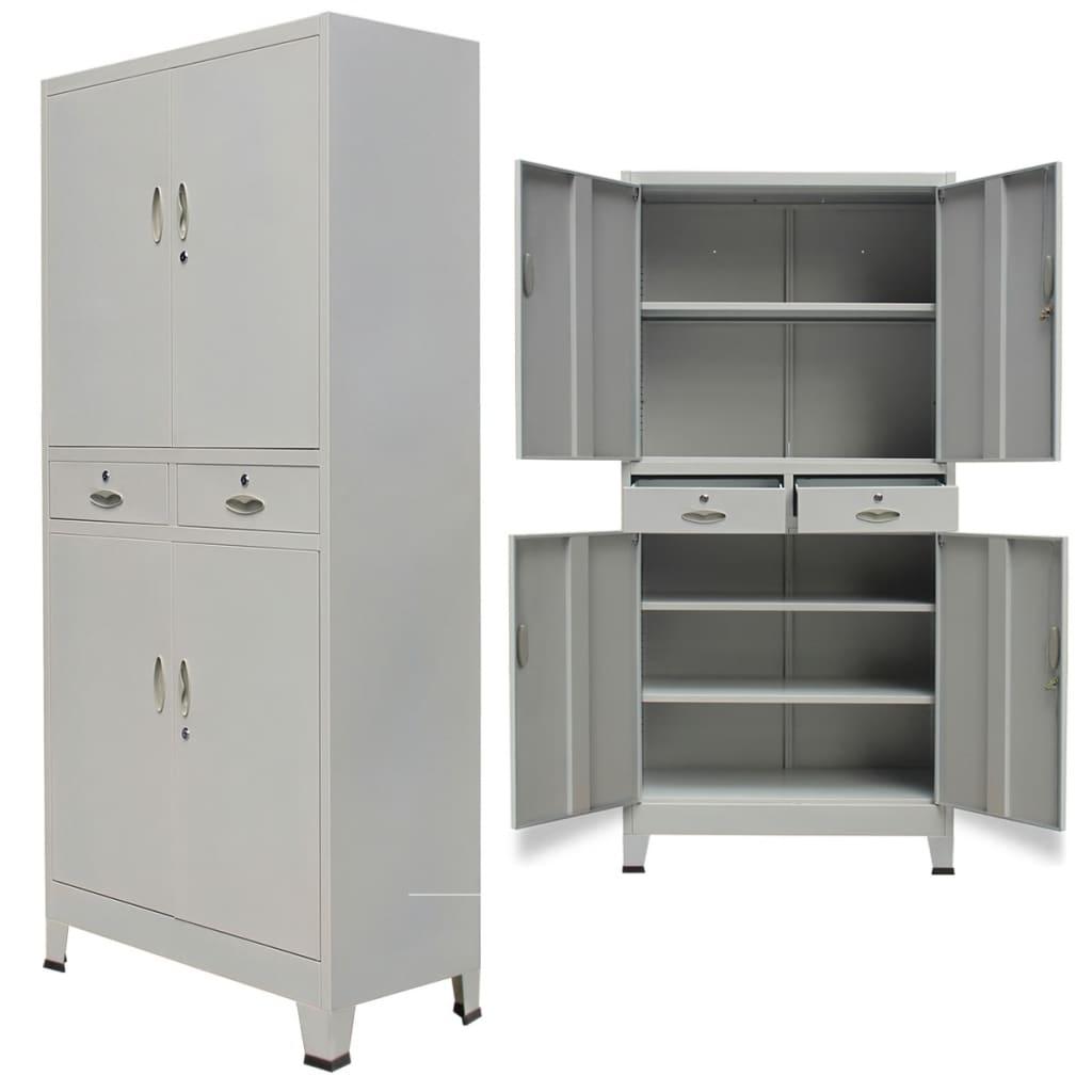 Kancelářská skříň se 4 dvířky ocelová 90x40x180 cm šedá