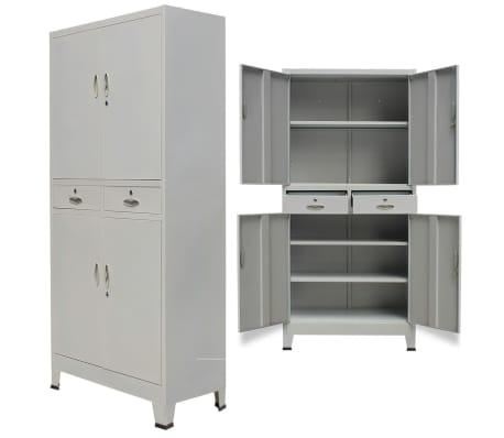 vidaXL Office Cabinet with 4 Doors Steel 90x40x180 cm Grey[5/10]