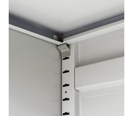 vidaXL Office Cabinet with 4 Doors Steel 90x40x180 cm Grey[8/10]