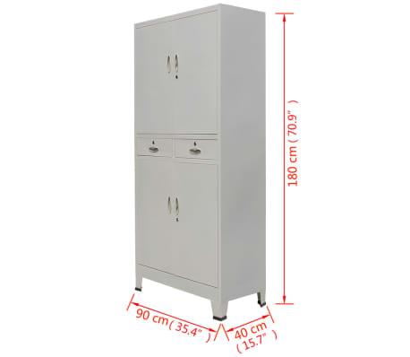 """vidaXL Office Cabinet with 4 Doors Steel 35.4""""x15.7""""x70.9"""" Gray[10/10]"""