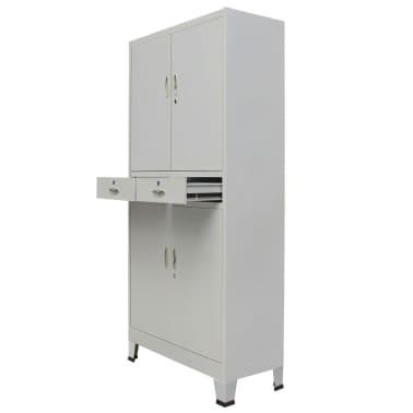 vidaXL Office Cabinet with 4 Doors Steel 90x40x180 cm Grey[2/10]