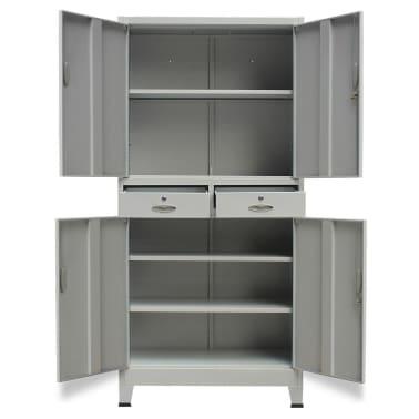 vidaXL Office Cabinet with 4 Doors Steel 90x40x180 cm Grey[3/10]