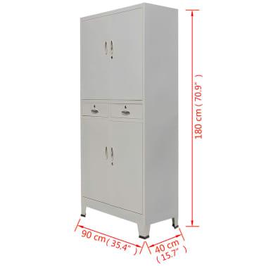 vidaXL Office Cabinet with 4 Doors Steel 90x40x180 cm Grey[10/10]