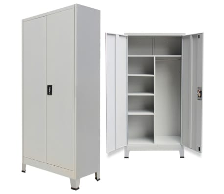vidaXL Locker Cabinet with 2 Doors Steel 90x40x180 cm Grey[1/9]