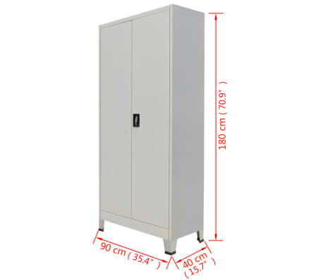 vidaXL Locker Cabinet with 2 Doors Steel 90x40x180 cm Grey[9/9]