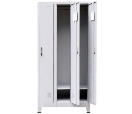 vidaXL Locker Cabinet with 3 Compartments Steel 90x45x180 cm Grey[3/8]