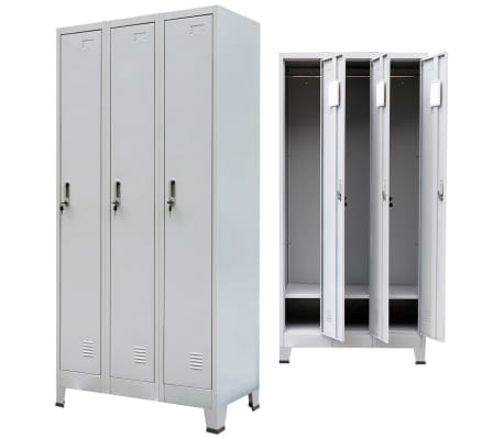 "vidaXL Locker Cabinet with 3 Compartments Steel 35.4""x17.7""x70.9"" Gray[4/8]"