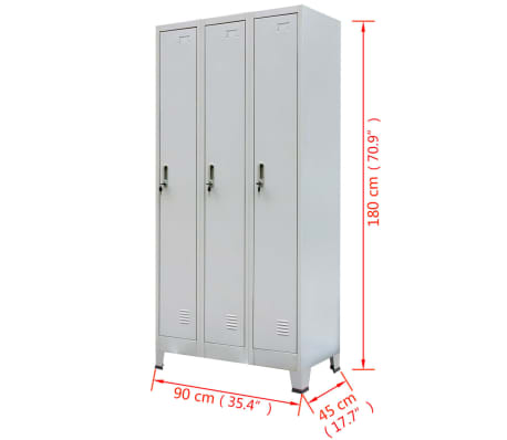 "vidaXL Locker Cabinet with 3 Compartments Steel 35.4""x17.7""x70.9"" Gray[8/8]"