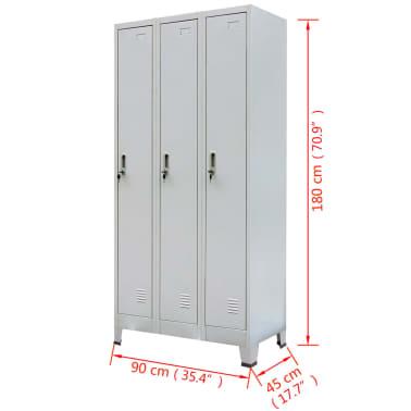 vidaXL Locker Cabinet with 3 Compartments Steel 90x45x180 cm Grey[8/8]