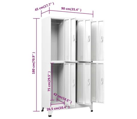 vidaXL Lockerkast met 6 vakken 90x45x180 cm staal grijs[8/9]