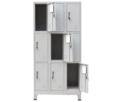vidaXL Locker Cabinet with 9 Compartments Steel 90x45x180 cm Grey[4/7]