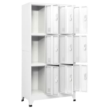 vidaXL Locker Cabinet with 9 Compartments Steel 90x45x180 cm Grey[3/7]