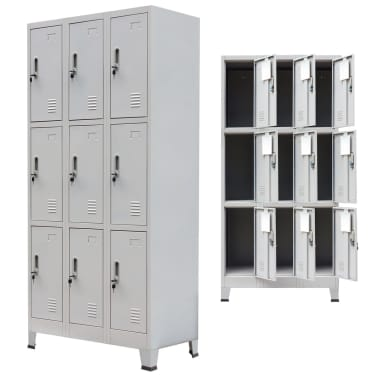 "vidaXL Locker Cabinet with 9 Compartments Steel 35.4""x17.7""x70.9"" Gray[3/7]"