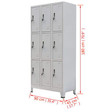 vidaXL Locker Cabinet with 9 Compartments Steel 90x45x180 cm Grey[7/7]