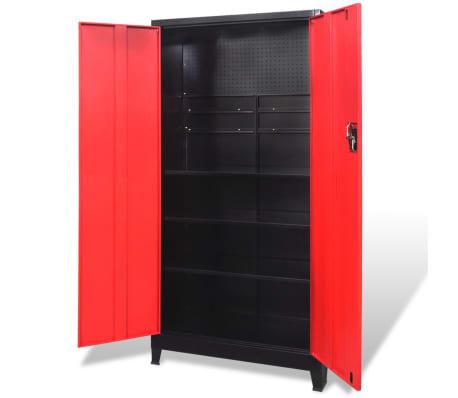 vidaXL Verktøyskap med 2 dører stål 90x40x180 cm svart og rød