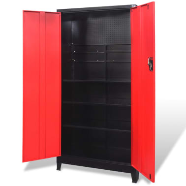 "vidaXL Tool Cabinet with 2 Doors Steel 35.4""x15.7""x70.9"" Black and Red[2/11]"