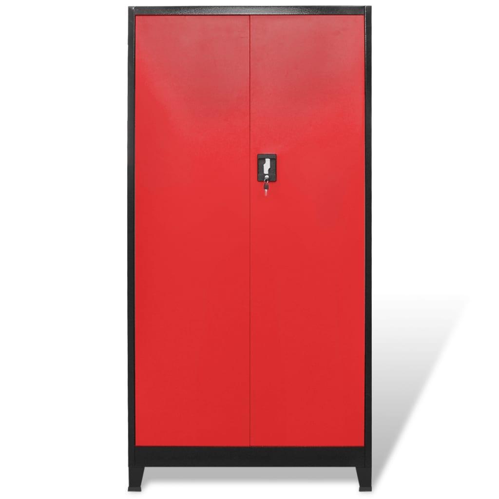 6408668dd70 vidaXL vidaXLi kahe uksega tööriistakapp terasest 90 x 40 x 180 cm, must ja  punane