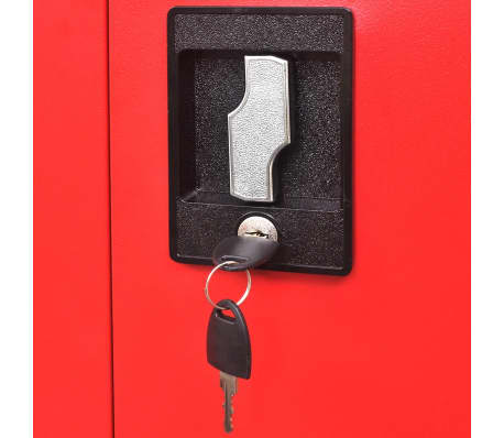 "vidaXL Tool Cabinet with 2 Doors Steel 35.4""x15.7""x70.9"" Black and Red[11/11]"