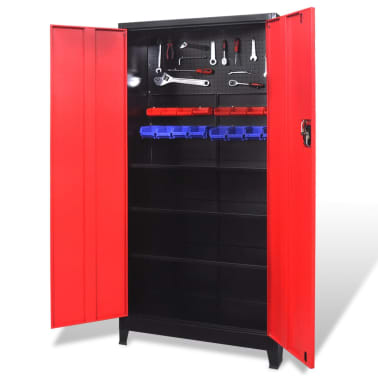 "vidaXL Tool Cabinet with 2 Doors Steel 35.4""x15.7""x70.9"" Black and Red[3/11]"